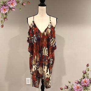 Beautiful open back strap floral burgandy dress